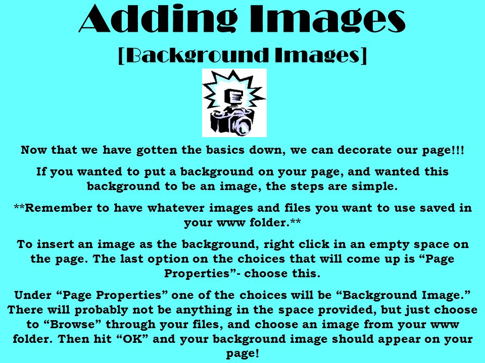Adding Images [Background Images]
